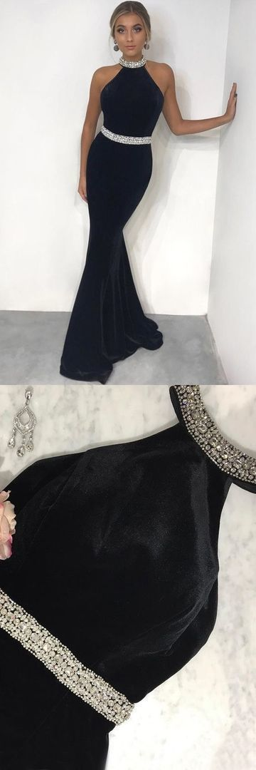 Charming Halter Black Sleevless Long Prom Dresses, Sexy Sleeveless Mermaid Evening Party Dress,E0593