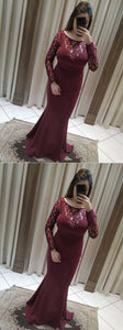 Fashion Lace Burgundy Mermaid Evening Dress, Formal Prom Dresses,E0594