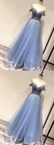 Fashion Off the Shoulder Tulle Blue A Line Prom Dress, Pretty Homecoming Dress,E0595
