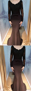 Long Sleeve Appliques Black Mermaid Evening Dress, Formal Prom Dresses,E0598