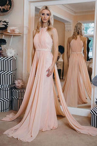 Sexy Chiffon A Line Prom Dress, Long Evening Party Dress, Wedding Party Dress,E0600