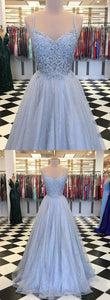 Real Photo Tulle Spaghetti Straps Long Prom Dresses, Appliques Formal Evening Dress ,E0601