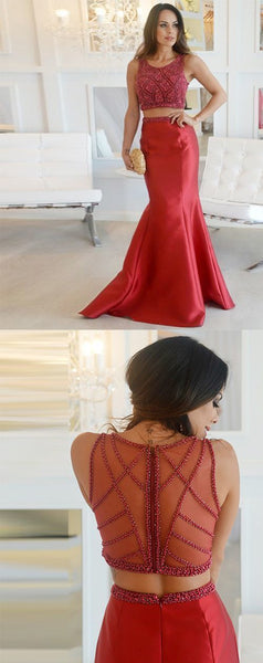 Elegant Red Two Piece Prom Dresses, Beaded Long Evening Dresses,E0602