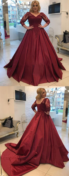 2019 Burgundy Long Sleeve Ball Gown Prom Dress, Long Evening Dress, Formal Gown,E0610