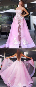Charming Prom Dress, Tulle Appliques Pink Prom Dresses,E0613