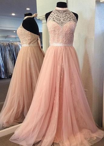 Charming Prom Dress, Sexy Appliques Tulle Prom Dresses, Long Beaded Evening Dress, Formal Gown,E0618