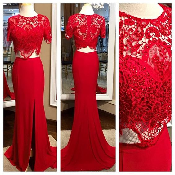 Real Photos Red Prom Dresses,Lace Top Prom Dress,Long Evening Dress,Sexy Red Prom Dresses,E0620