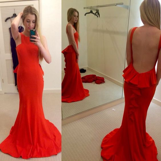New Arrival Sexy Red Long Prom Dresses, Mermaid Stain Backless Delicate Evening Party Dresses,Evening Gown ,E0622
