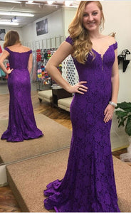 Charming Purple Lace Mermaid Prom Dress, Sexy Long Prom Dresses, Formal Evening Gowns,E0625