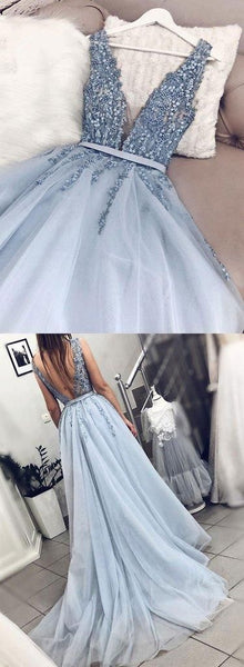 Gorgeous Blue Tulle V Neck Open Back Beaded Senior Prom Dress, Pageant Dress,E0628