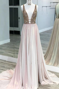 Pink Tulle V Neck Backless Rhinestone Sequined Long Prom Dress, Evening Dress,E0629