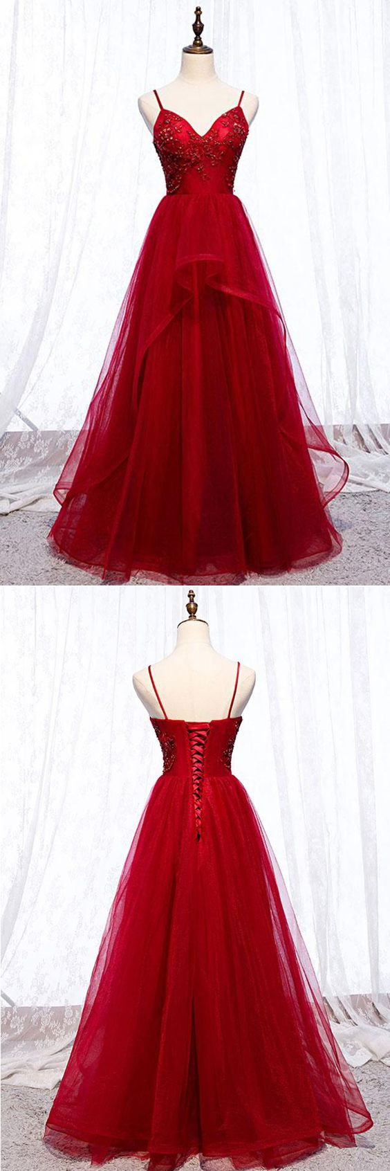 Burgundy Tulle Spaghetti Straps Long V Neck Lace Up Prom Dresses,E0631