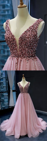 Pink Tulle Beaded Sequins Train V Neck Prom Dress, Pearl Evening Gown,E0632