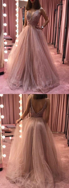 Pink Tulle V Neck Beaded Long A Line Senior Prom Dress, Evening Dress,E0633