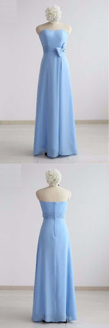Simple Blue Chiffon Strapless Long Bridesmaid Dress, Prom Dress With Bowknot,E0638