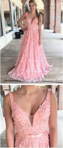 Chic A-line Straps Prom Dresses With Applique Pink Long Prom Dresses Evening Dresses,E0645