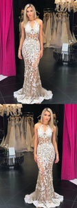 Mermaid scoop long prom dresses applique evening dress,E0646