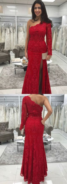 Sheath Long Sleeves One Shoulder Lace Prom Dress Party Evening Formal Gown,E0648