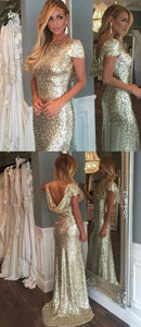 Sheath Bateau Short Sleeves Light Gold Sequined Bridesmaid Dress,E0650