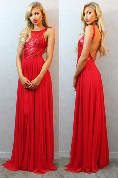 Sequined Backless Red Prom Dresses Long, Red Evening Dress, Dresses for Party,E0651