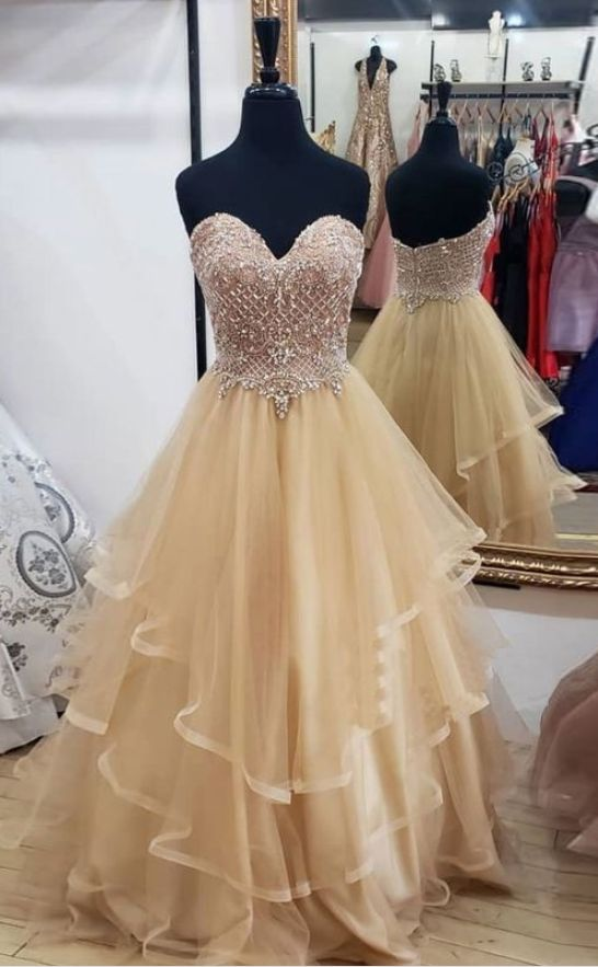 Champagne Beautiful Tulle Sweetheart Long Prom Dress, Champagne Evening Dress,E0653