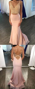 Custom Made Stunning Mermaid V Neck Open Back Pink Satin Long Prom Dresses With Beading,E0654