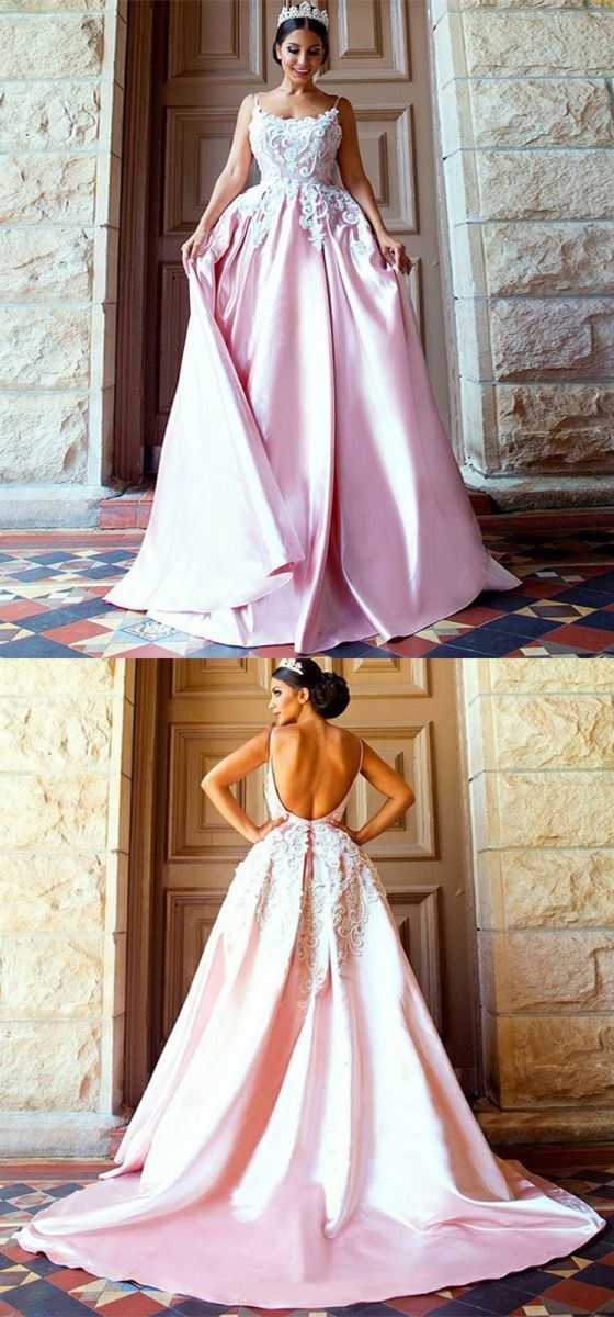 Modest pink backless long prom dress, unique spaghetti straps sweep train party dress, elegant evening gowns with appliques,E0664