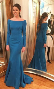 Full Sleeve Evening Dress,Mermaid Evening Dresses,Formal Gowns,E0671