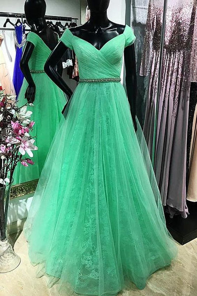 Exquisite Tulle Off-the-shoulder Neckline Floor-length A-line Prom Dresses With Beadings,E0680