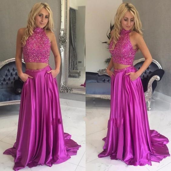 Sexy Prom Dress,Halter Two Piece Prom Dress,Beaded Prom Dress,Long Prom Dress  ,E0687