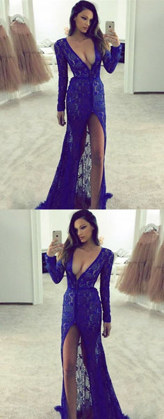 Charming Prom Dress, Sexy Long Sleeve Royal Blue Lace Prom Dresses With Slit, Long Evening Dress, Formal Gown ,E0690