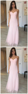 Pink Chiffon Prom Dress, Long Prom Dresses, Spaghetti ,E0695