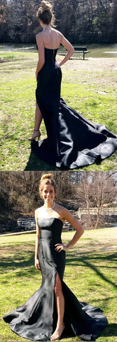 strapless black mermad long prom dress, black long prom dress with side slit, formal evening dress, party dress,E0703