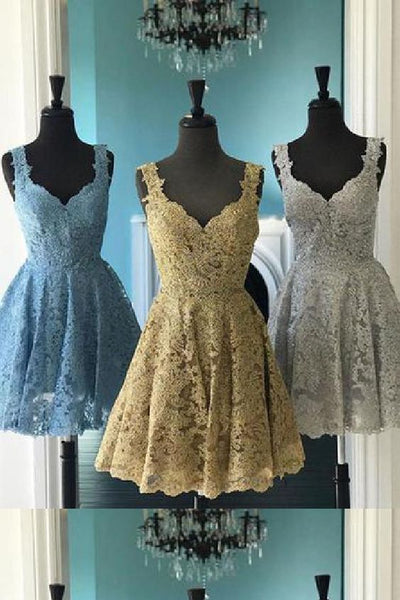 Luscious Short Homecoming Dress, Homecoming Dress A-Line, 2019 Homecoming Dress, Lace Homecoming Dress,E0706