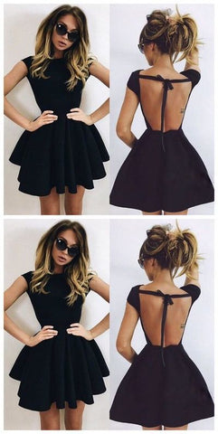 Backless Homecoming Dress,black Prom Dress,short Prom Dresses,E0707