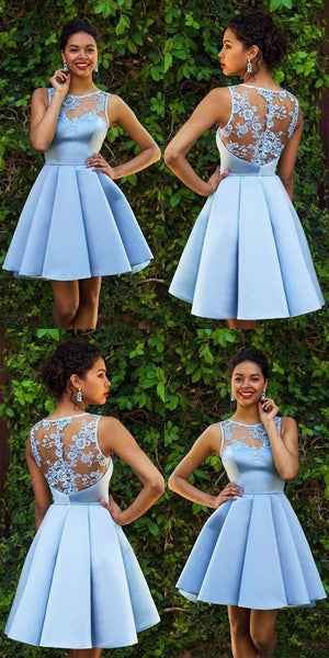 Sky Blue Homecoming Dresses,Lace Homecoming Dress,Sexy Homecoming Dresses,Short Prom Dress,Satin Cocktail Dresses,E0709