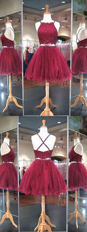 Burgundy 2 Pieces Homecoming Dresses,Back to School Dance Dress,Short Prom Dress,E0710