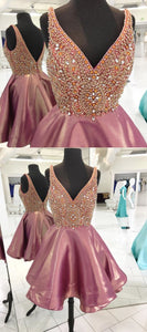 Sparkly Beads Pink Short Homecoming Dress Party Dress,E0713