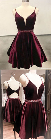 Cute A Line V Neck Open Back Velvet Burgundy Short Homecoming Dress, Short Prom Dress,E0717
