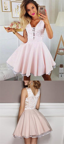 Cute Pink V Neck Lace Short Prom Dress,chiffon Homecoming Dress,E0720