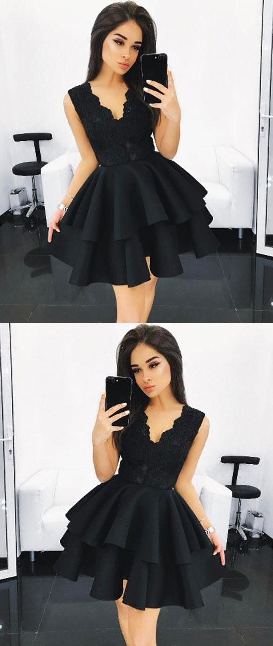 Black V Neck Lace Homecoming Dress,Ruffles Short Prom Dress,E0723
