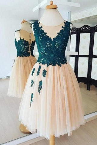 Champagne Round Neck Lace Tulle Short Prom Dress Applique Homecoming Dress,E0726