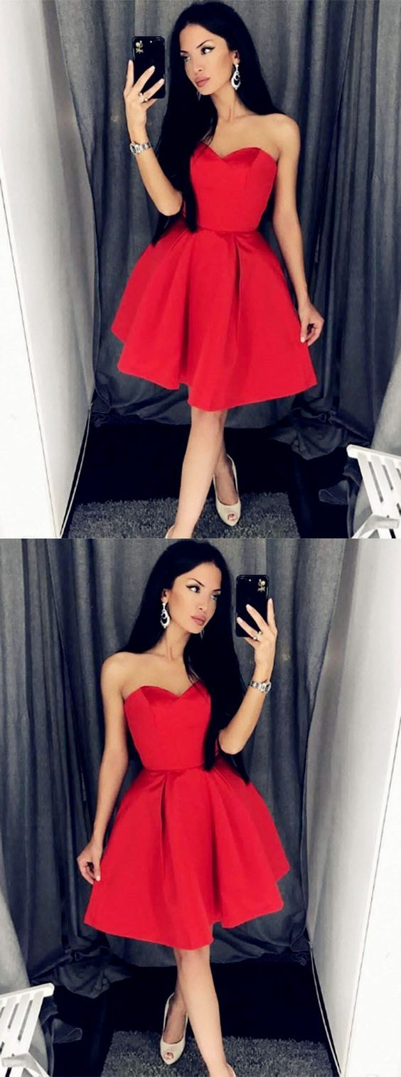 A-Line Sweetheart Red Short Homecoming Dress,E0729