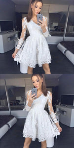A-Line V-Neck Grey Long Sleeves Homecoming Dress With Lace ,E0733