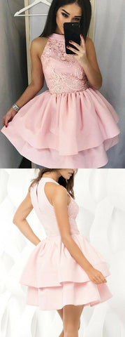 A-Line Jewel Short Pink Tiered Homecoming Dress With Appliques ,E0738