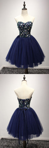 Dark Navy Blue Short Prom Dress With Sequin Bodice For Juniors,E0739