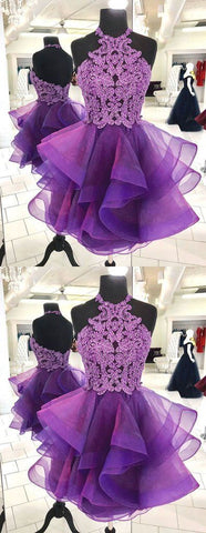 Cute purple tulle lace short prom dress, purple homecoming dress ,E0740