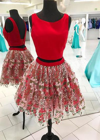 Red Short Two Pieces Lace Homecoming Dress, Short Prom Dress,E0741