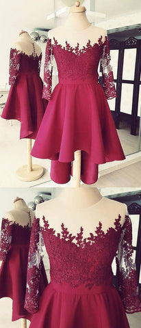 Cute High Low Lace Applique Burgundy Homecoming Dress, Short Prom Dress,E0744