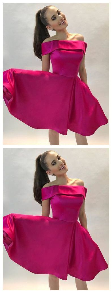 A-line off-the-shoulder short prom dress, fushica satin homecoming dress,E0759